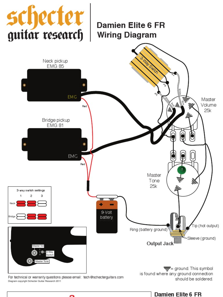 Schecter T1 Wiring Diagrams Electrical Sustainiac 5 Way Switch Schematics Emg Bass Pickup Hz Pickups Diagram
