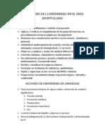 ACTIVIDADES DE LA ENFERMERA EN EL ÁREA HOSPITALARIA
