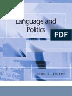 John E. Joseph Language and Politics Edinburgh Textbooks in Applied Linguistics 2007