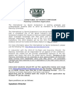 2014 Ivy Sports Symposium Planning Committee Application (London)