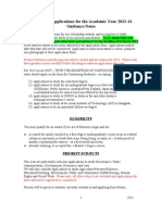 Guidance Notes for 2013 Scholarship Applicants