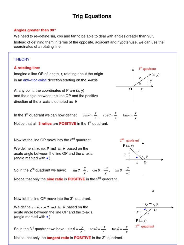 Trig Equations pdf | Trigonometric Functions | Sine
