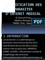 CLASSIFICATION DES PARASITES D'INTERET MEDICAL