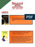 Biblioteca APPIA - Adquisiciones Jul-Ago 2013
