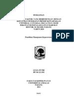 Faktor - Faktor Yang Berhubungan Dengan Kepatuhan Penerapan Prinsip Kewaspadaan Universal (Universal Precaution) Oleh