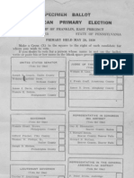 Ballot Specimen PA Republican Primary Election