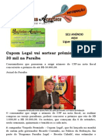 Cupom Legal vai sortear prêmios de até R$ 30 mil