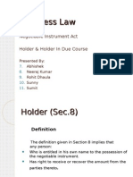 Holder and Holder in Due Course