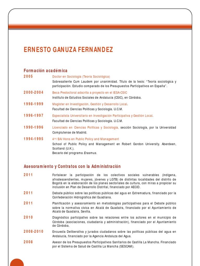 Curriculum Vitae Ernesto Ganuza