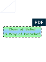 Belief Part 1-8- Claim of Belief and Way of Disbelief