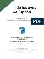 Lista Aves Espana 2012