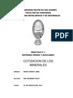 PRACTICA Nº 1 MATERIAS PRIMAS (COTIZACION DE LOS MINERALES)