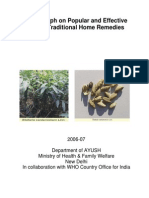 Traditional Medicine Monograph on Popular Home Remedies