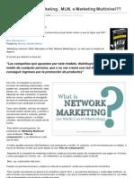 Qué es Network Marketing MLM o Marketing Multinivel