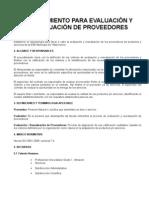 PROCEDIMIENTO PARA EVALUACIÓN Y REEVALUACIÓN DE PROVEEDORES