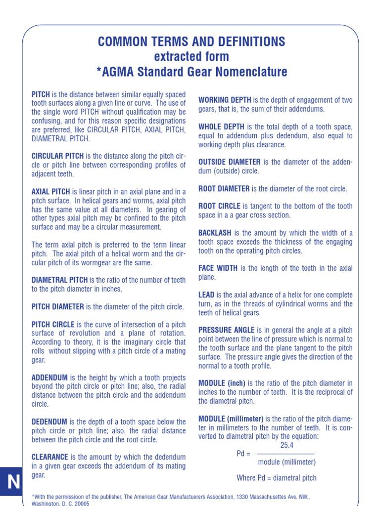 N007 Agma Gear Nomenclature Gear