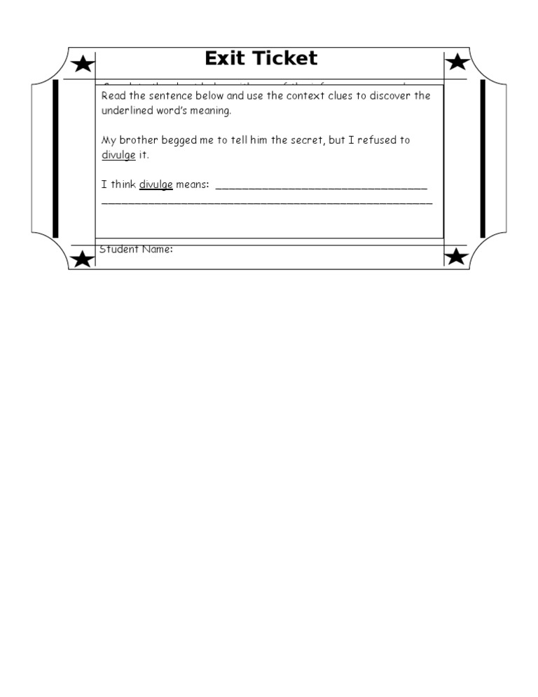 Context Clues Exit Ticket