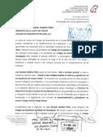 11 Reclamo ante la  junta de Honor del Colegio de Arquitectos de León, A. C., y solicitud de disculpa por el comportamiento del Arq. Luis Gerardo Ramírez Pérez, miembro activo y ex presidente de este Colegio en dos periodos consecutivos.