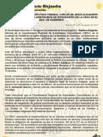POSICIONAMIENTO ANTE DETENCIONES DE INTEGRANTES DE LA CRAC EN GUERRERO