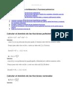 Ejercicios Matematica i Funciones Polinomicas
