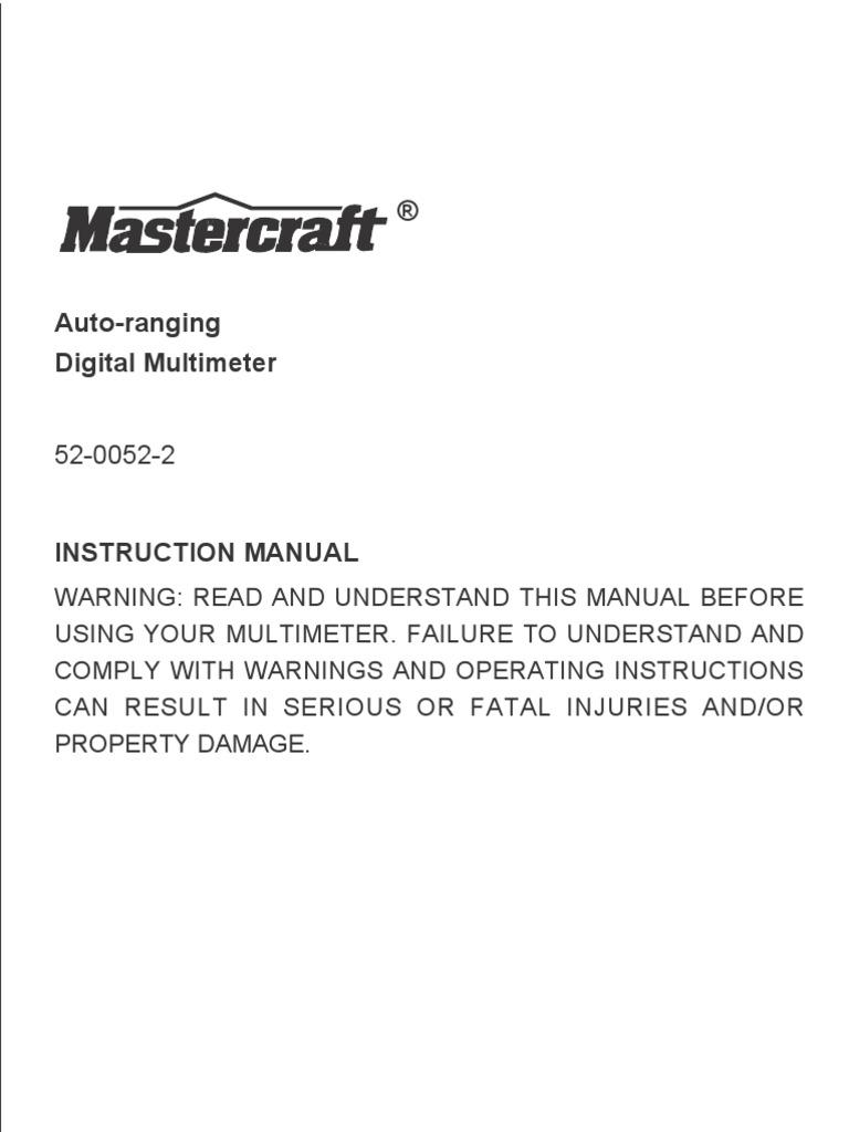 Mastercraft Multimeter 52 0052en Capacitor Bipolar Junction