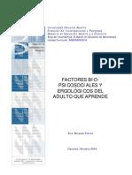 Factores bio-psicosociales y ergológicos del adulto que aprende