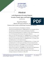 Prakas on the Registration of Securities Registrar Securities Transfer Agent...English