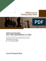 Tariff Liberalization and Trade Specialization in India