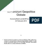 10 Previziuni Geopolitice Globale
