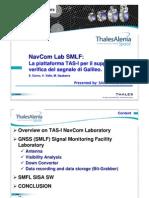 NavCom Lab SMLF (Signal Monitoring Laboratory Facility), la piattaforma TAS-I per il supporto alla verifica del segnale di Galileo