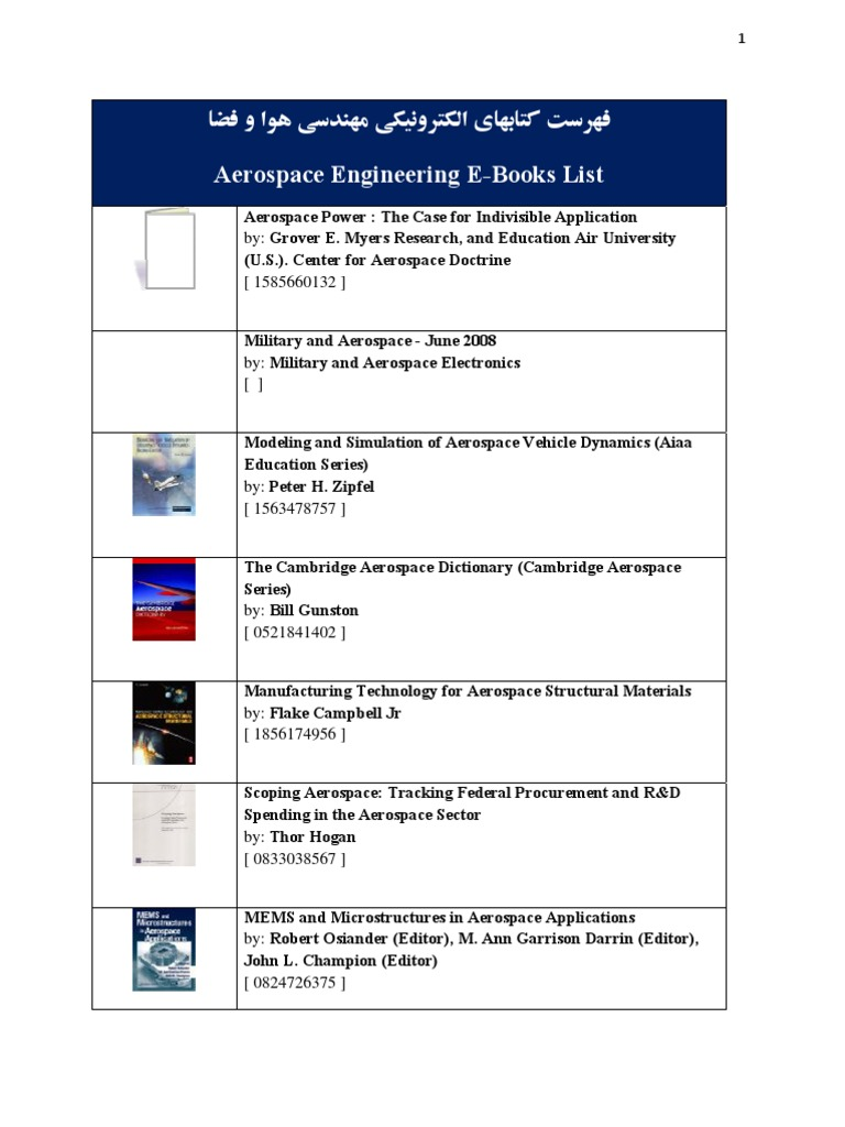 65 Aerospace Engineering Ebooks List  Aerospace Engineering  Aerospace