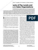 Determinants of Pay Lela lavels and Structures in Sales Organizations