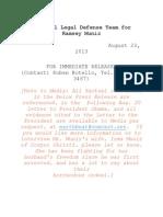 Ramsey Muniz - Press Release