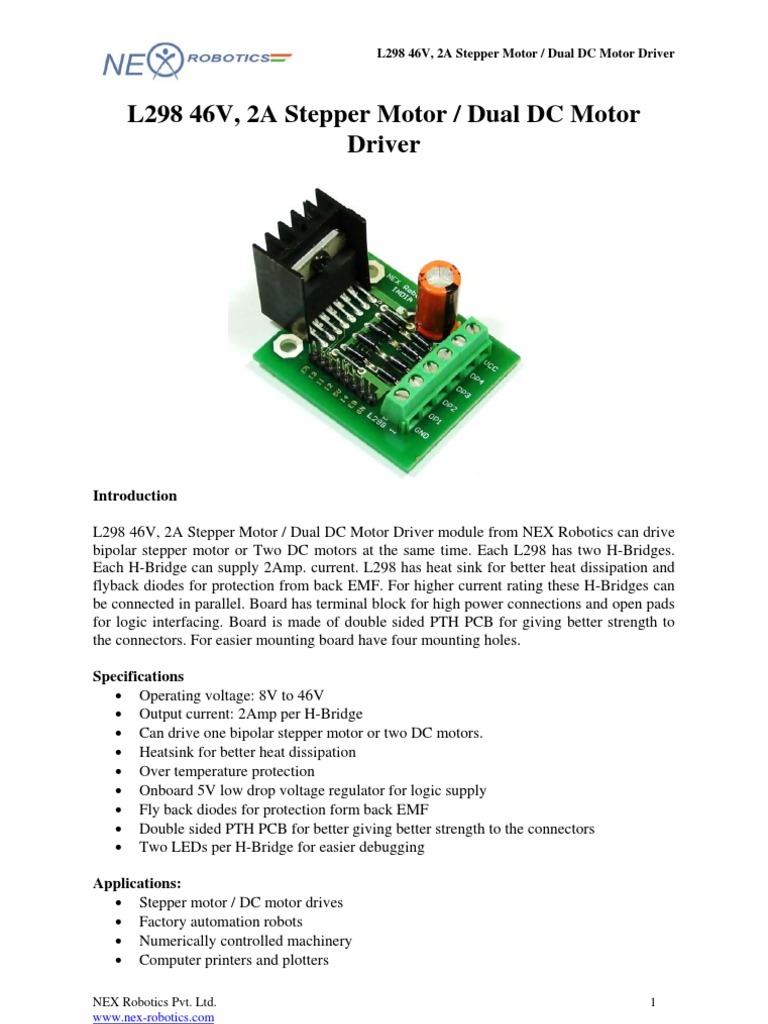 L298pdf Electronics Electrical Engineering L298 H Bridge Diagram Also With Motor Driver