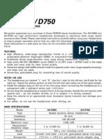 Denon AH-D950 AH-D750 Headphones Manual