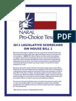 HB 2 Legislative Scorecard