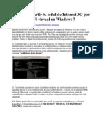 Como Compartir tu señal de Internet 3G por medio de WiFi virtual en Windows