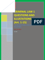 Criminal Law 1 Questions & Illustations Art 1 to 15