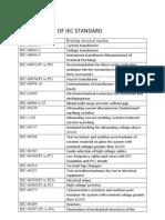 List of Iec Standard