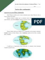Resumo sobre a Deriva dos continentes - CN - 7.º ano