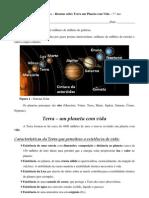 Resumo sobre Terra um planeta com Vida - Características que lhe permitem ter vida - CN - 7.º ano