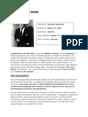 Mies Van Der Rohe Design Philosophy.Mies Van Der Rohe Theory Of Architecture Art Media