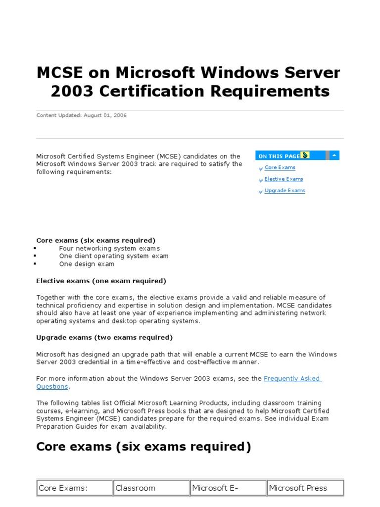 Course 2274 - Managing Windows 2003 Server REQUIREMENTS | Windows Server  2003 | Windows 2000