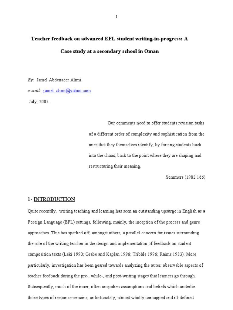Teacher feedback on advanced EFL student writing-in-progres