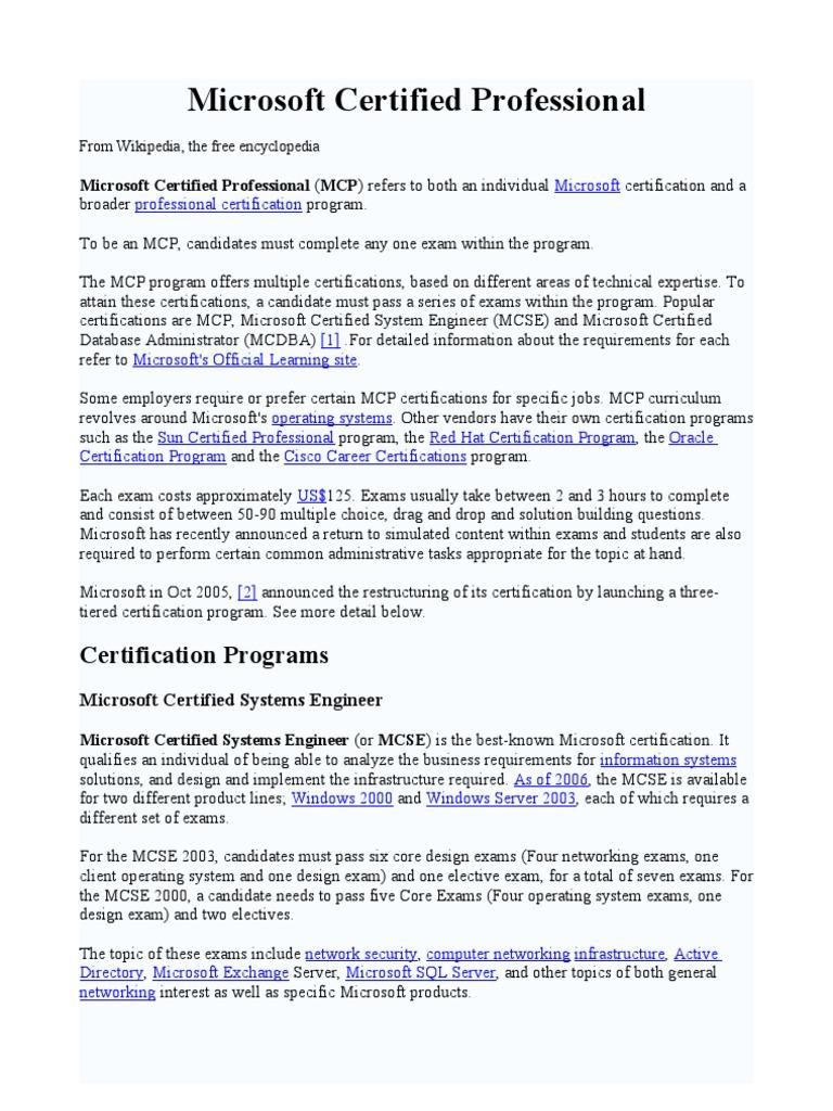 Microsoft Certified Professional Wikipedia Professional