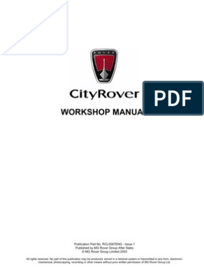 cityrover workshop manual engines fuel injection Rover 416