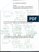 Applications of Quadratic Equations