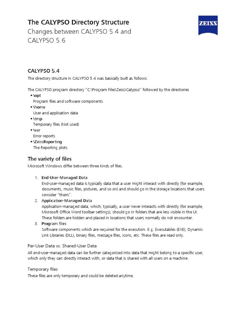 CALYPSO Directory Structure En | Microsoft Windows | Directory