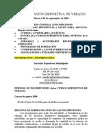 PROGRAMACIÓN DEPORTIVA DE VERANO