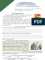 AVALIAÇÃO CIENCIAS 3° BIMESTRE 5° ANO 2013